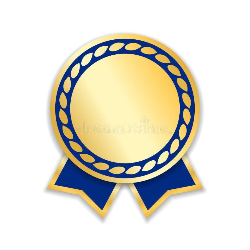 Geïsoleerdeo het lint van de toekenning Gouden blauwe ontwerpmedaille, etiket, kenteken, certificaat Symbool beste verkoop, prijs stock illustratie