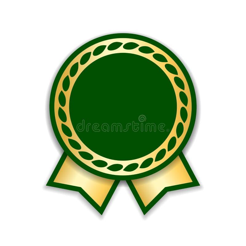 Geïsoleerdeo het lint van de toekenning Gouden groene ontwerpmedaille, etiket, kenteken, certificaat E stock illustratie