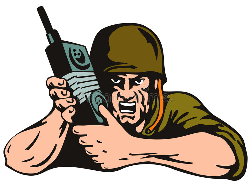 geïsoleerdeo militair met radio royalty-vrije illustratie