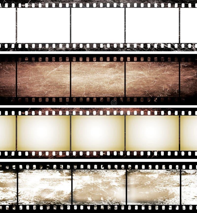 Geïsoleerdeo uitstekende filmframe inzameling stock illustratie