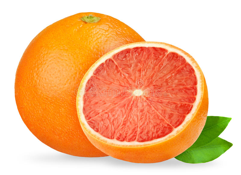 Geïsoleerder grapefruit Roze die grapefruits op witte achtergrond, met het knippen van weg worden geïsoleerd stock afbeelding