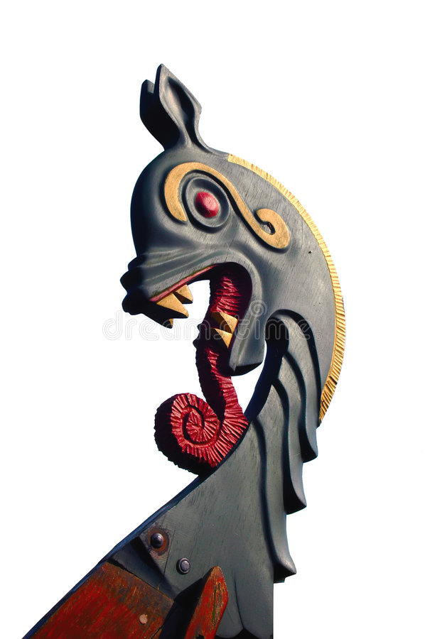 Geïsoleerder het Hoofd van de Draak van het Schip van Viking royalty-vrije stock foto