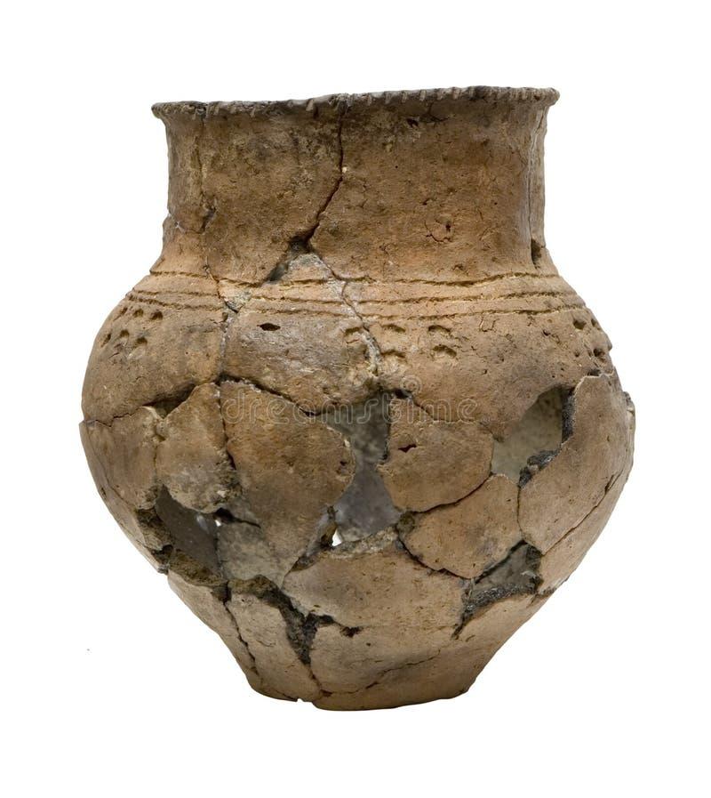 Geïsoleerder oude gebroken pot stock afbeelding