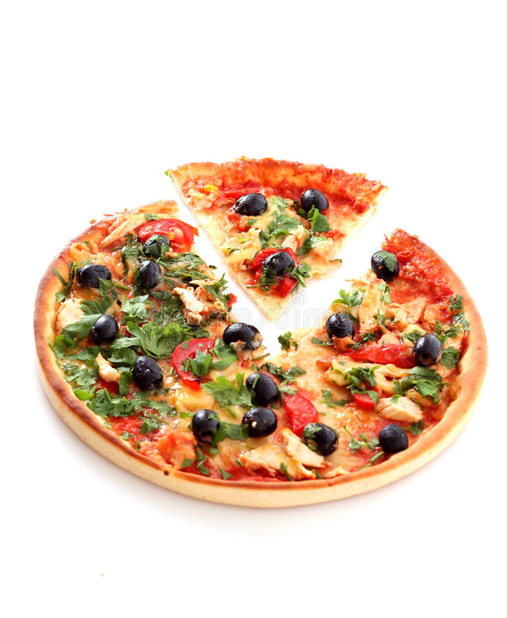 Geïsoleerder pizza royalty-vrije stock fotografie