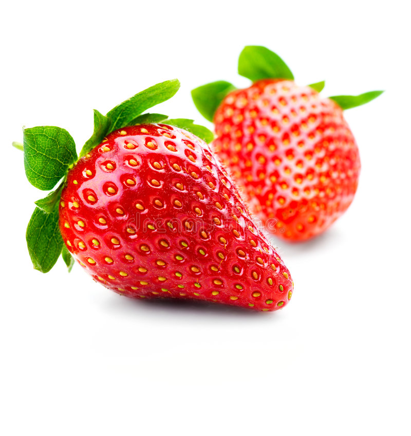 Geïsoleerder vruchten - Aardbeien stock foto