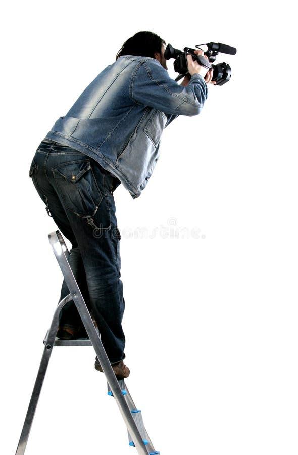 Geïsoleerder werkende cameraman stock afbeelding