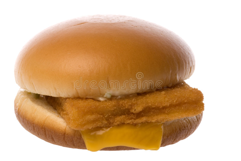 Geïsoleerdes de Hamburger van het Filethaakwerk van vissen stock afbeelding
