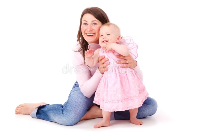 Geïsoleerdes moeder en baby stock fotografie