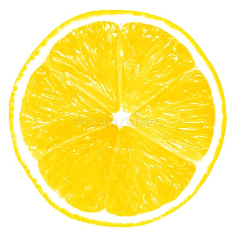 Geïsoleerdet de plak van de citroen stock afbeelding
