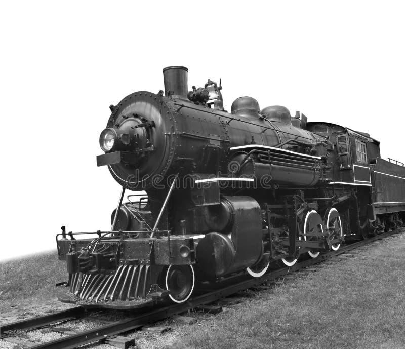Geïsoleerdet de treinlocomotief van de stoom. stock afbeelding