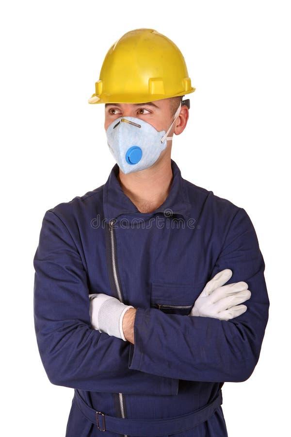 Geïsoleerdet mens met de kleren van het beschermingswerk royalty-vrije stock afbeeldingen