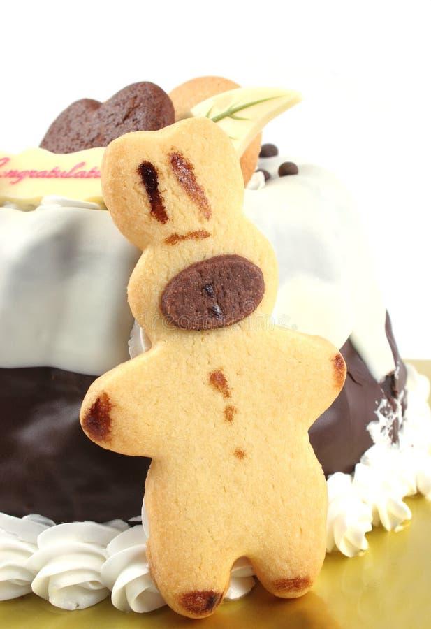 Geïsoleerdeu de roomcake van de chocolade royalty-vrije stock foto