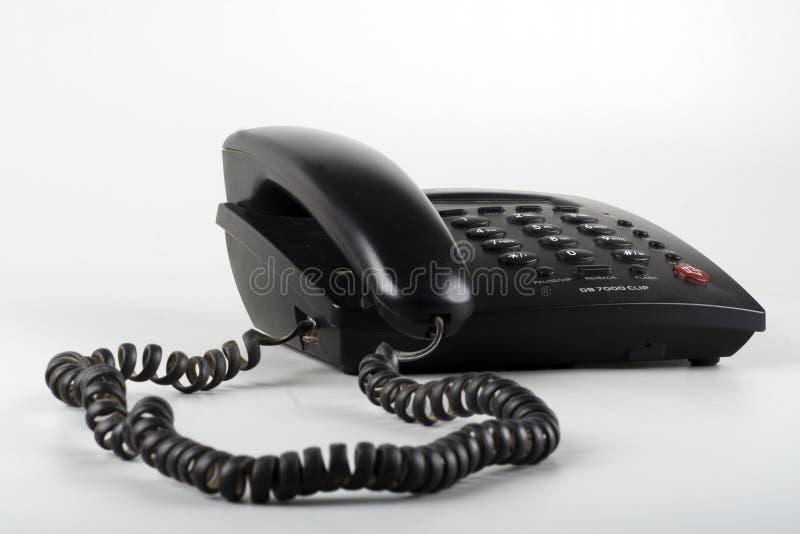 Geïsoleerdeu zwarte landline telefoon royalty-vrije stock afbeelding