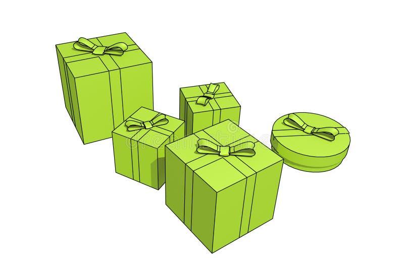 Download Geïsoleerdew giftdozen stock illustratie. Illustratie bestaande uit partij - 10783115