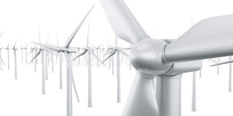 Geïsoleerdey windturbines vector illustratie
