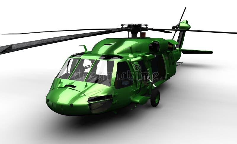 Geïsoleerdez zwarte havikshelikopter stock foto's