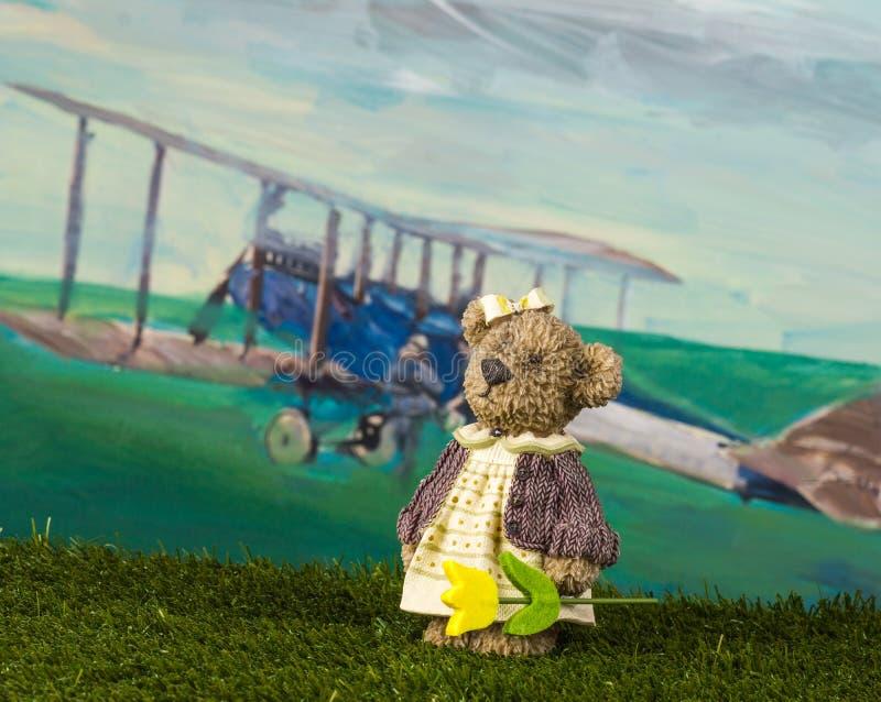 geïsoleerdn op witte, selectieve nadruk Het stuk speelgoed draagt met een tulp wacht haar frie stock foto's