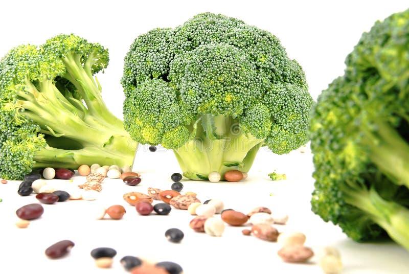 Geïsoleerds broccoli en boonpatroon royalty-vrije stock afbeelding