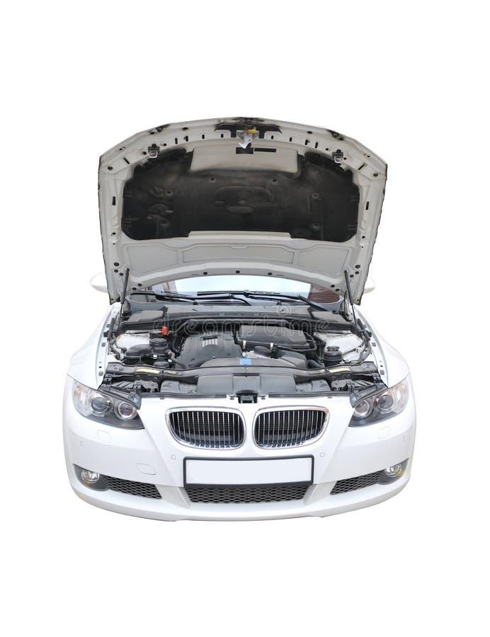 Geïsoleerdt open van de Bonnet van BMW 335i royalty-vrije stock foto's