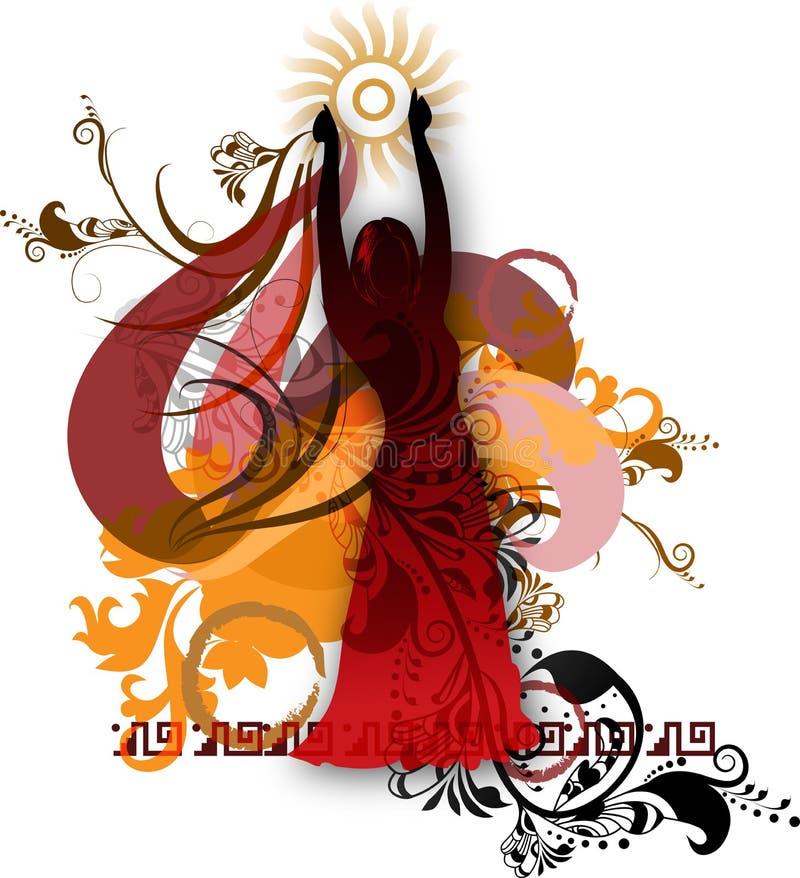 Geïsoleerdt silhouet van een danser 2 royalty-vrije illustratie