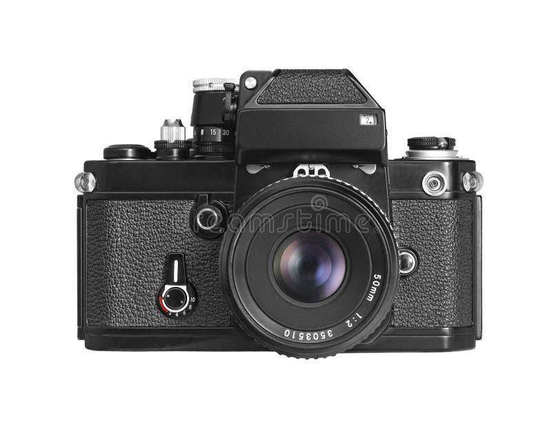 Geïsoleerdt vooraanzicht van een uitstekende filmcamera stock foto