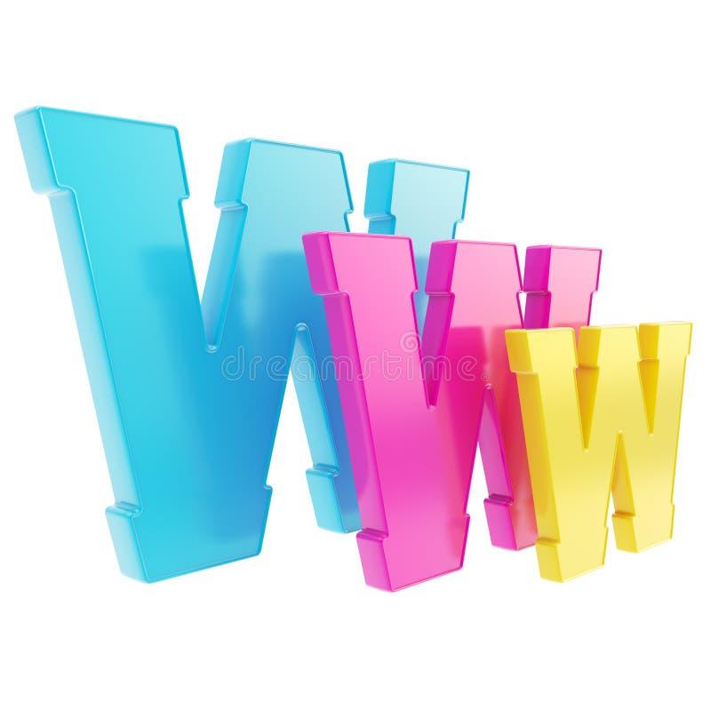 Geïsoleerdw de brievensymbool van World Wide Web www royalty-vrije illustratie