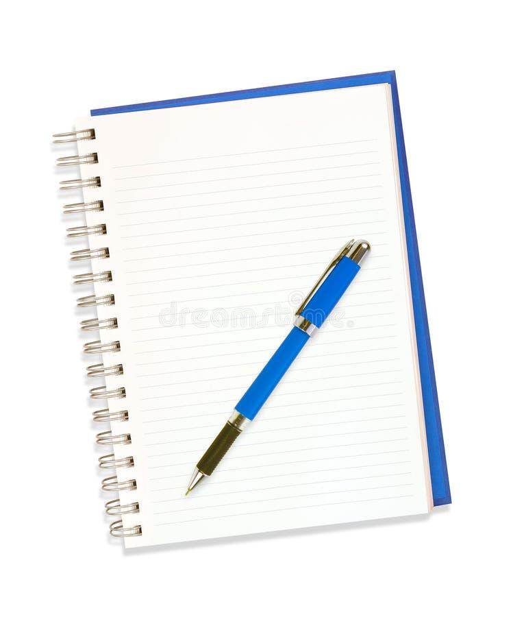 Geïsoleerdw notitieboekje en pen royalty-vrije stock foto