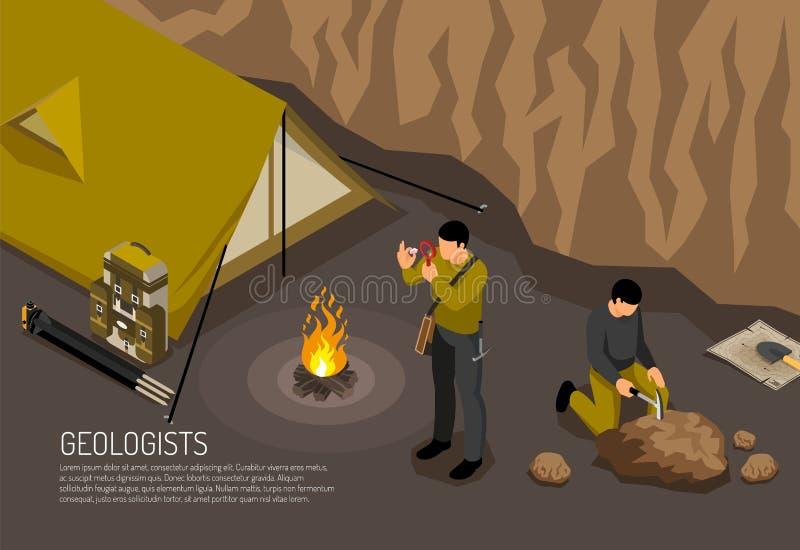 Geólogo Camp Isometric Illustration ilustração do vetor