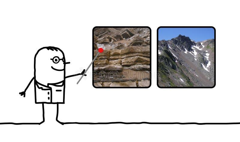 Geólogo do homem dos desenhos animados que mostra imagens das rochas e das montanhas ilustração stock