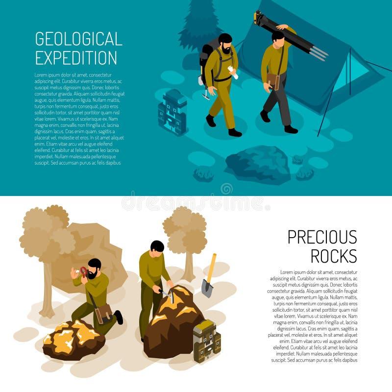 Geólogo Isometric Banners ilustração stock