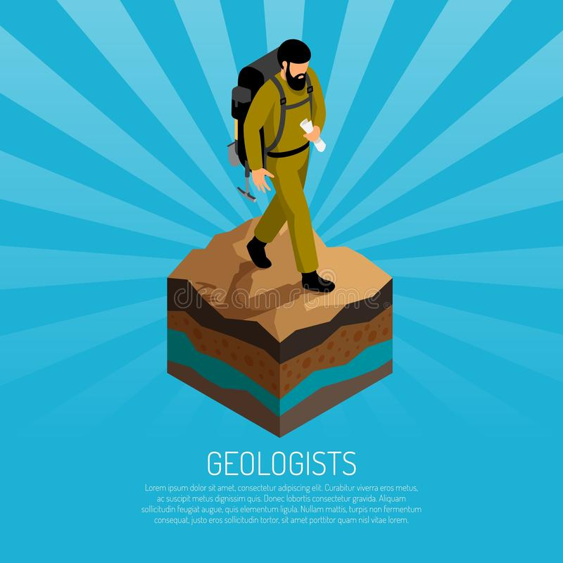 Geólogo Isometric Poster ilustração stock