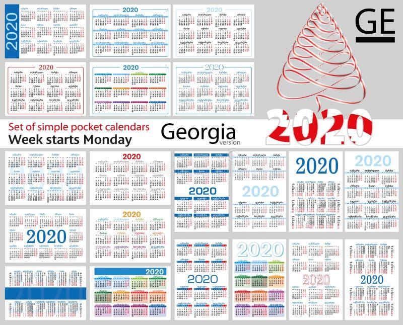Geórgia ajustou-se de calendários do bolso para 2020 ilustração royalty free
