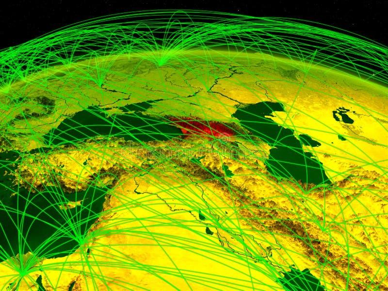 Geórgia na terra digital do planeta com a rede internacional que representa uma comunicação, o curso e as conexões ilustração 3D ilustração do vetor