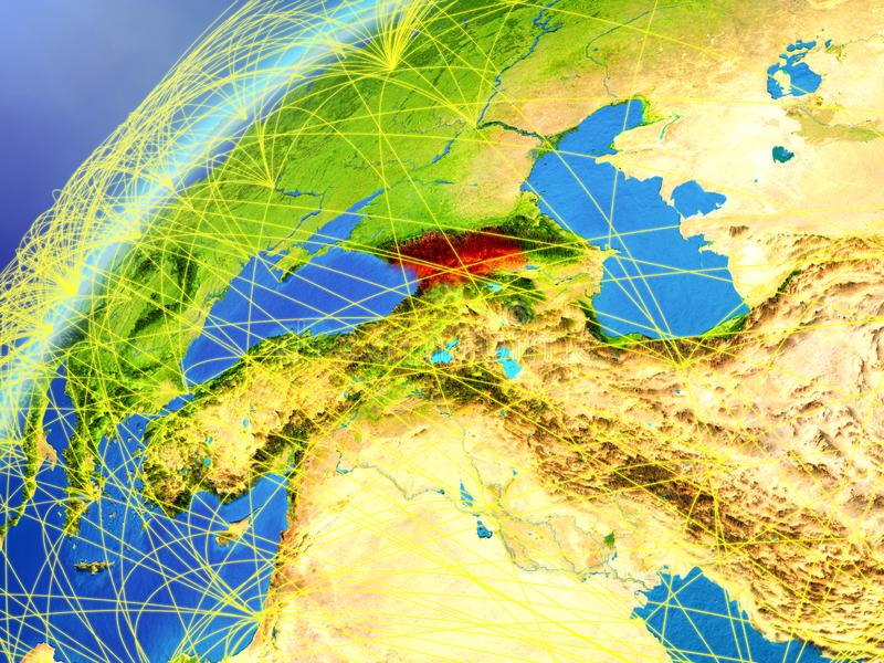 Geórgia no modelo da terra do planeta com redes internacionais Conceito de uma comunicação digital e da tecnologia ilustração 3D ilustração royalty free