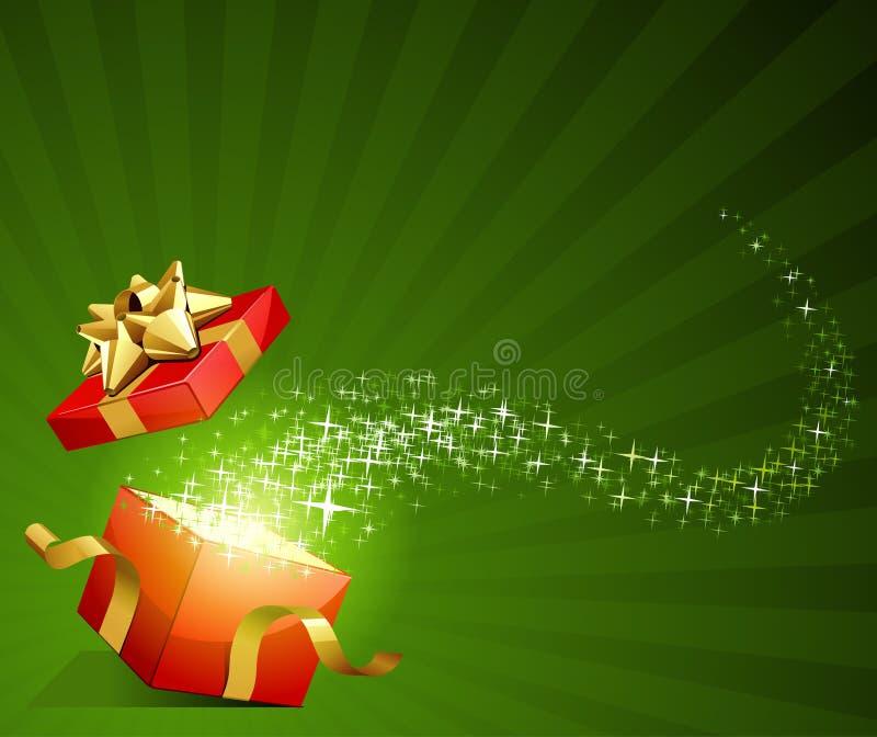 Geöffnet erforschen Sie Geschenk mit Fliegensternen stock abbildung