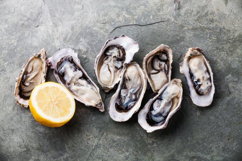 Geöffnete Austern mit Zitrone lizenzfreie stockbilder