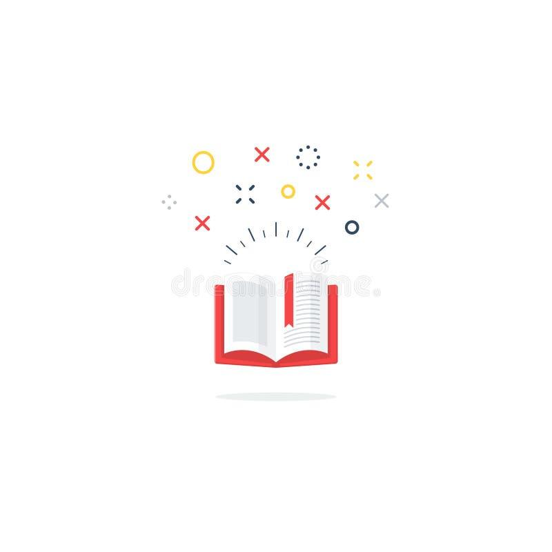Geöffnete Buchikone und -logo lizenzfreie abbildung