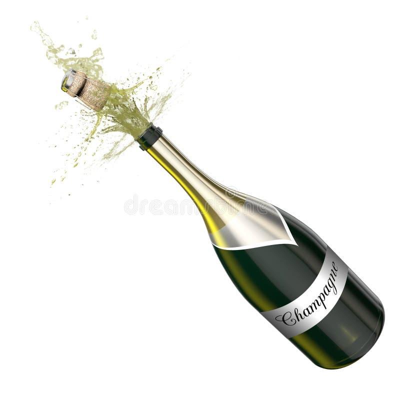 Geöffnete Flasche mit schäumendem Champagner lizenzfreie abbildung