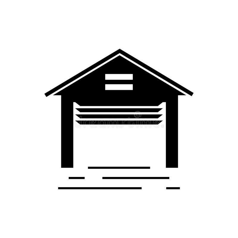 Geöffnete Garagenvektorikone stock abbildung