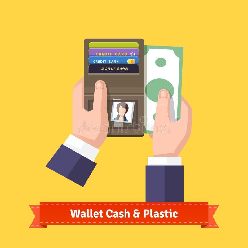 Geöffnete Geldbörse in der Handflachen Ikone vektor abbildung