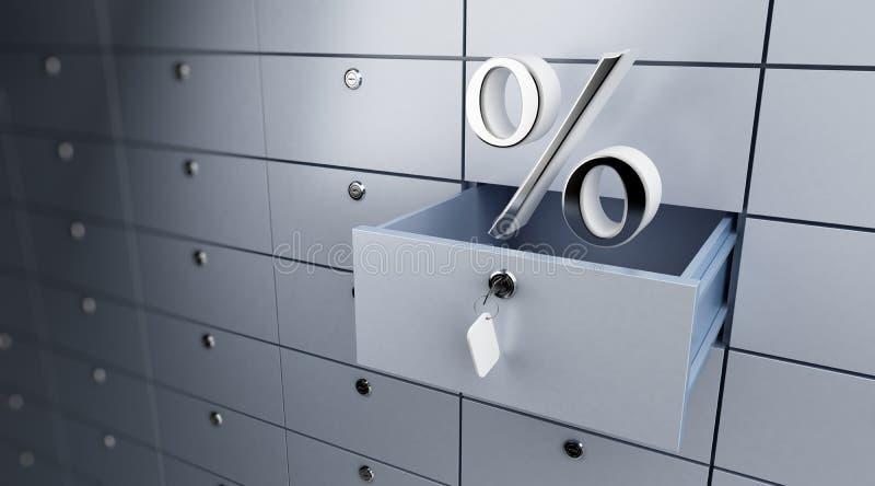 Geöffnete leere Bankeinlageprozente stock abbildung