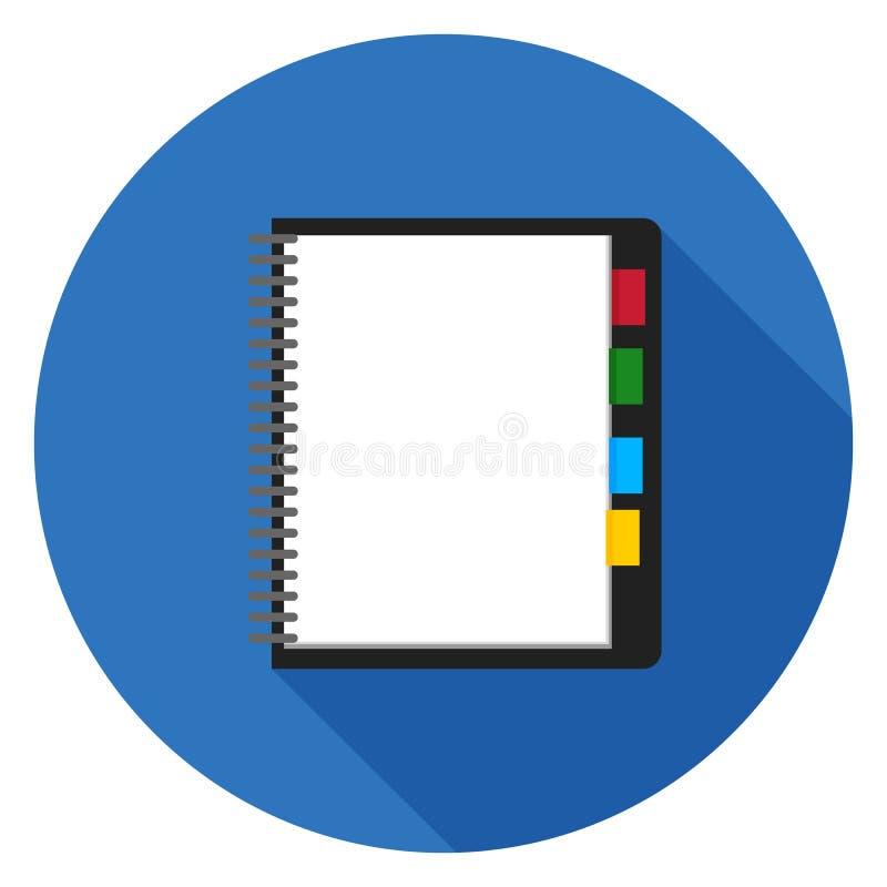 Geöffnete Notizblockikone im flachen Design lizenzfreies stockfoto