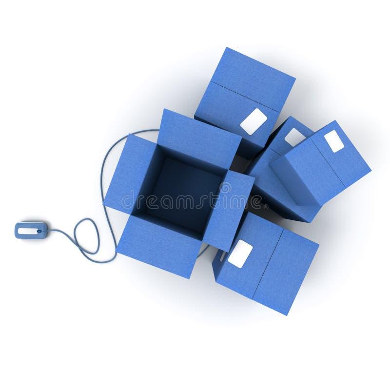 Geöffnete Pakete des Blaus mit Maus stockfotos