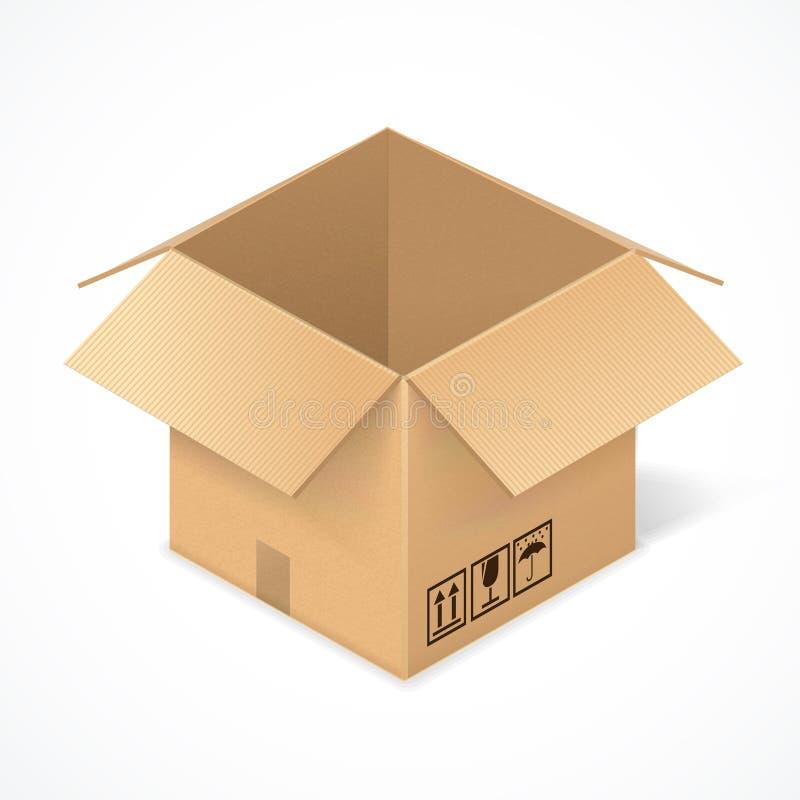 Geöffnete Pappschachtel, lokalisiert auf Weiß lizenzfreie abbildung