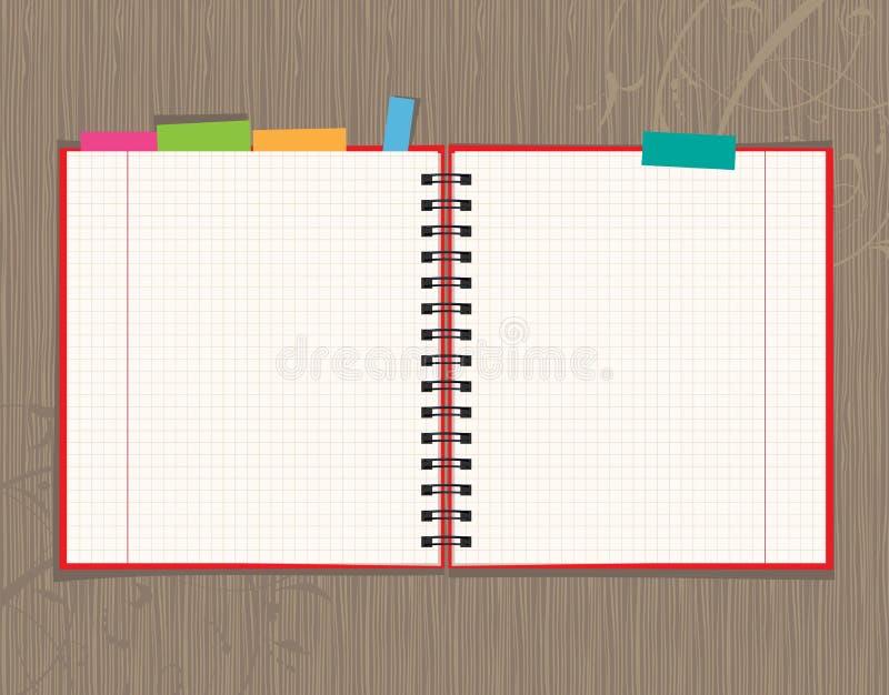 Geöffnete Seitenauslegung des Notizbuches auf hölzernem Hintergrund stock abbildung
