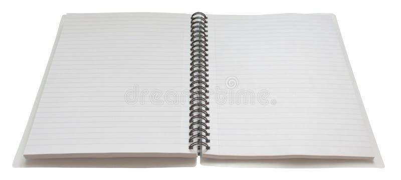 Geöffnete Spirale - verklemmtes Notizbuch, an stockfotografie