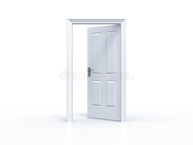 Geöffnete tür  Geöffnete Tür Auf Weißem Hintergrund Stock Abbildung - Bild: 49578474