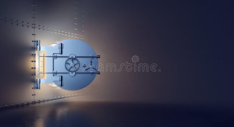 Geöffnete Tresortür mit dem Gold und Schatz versteckt in der Dunkelkammer stock abbildung