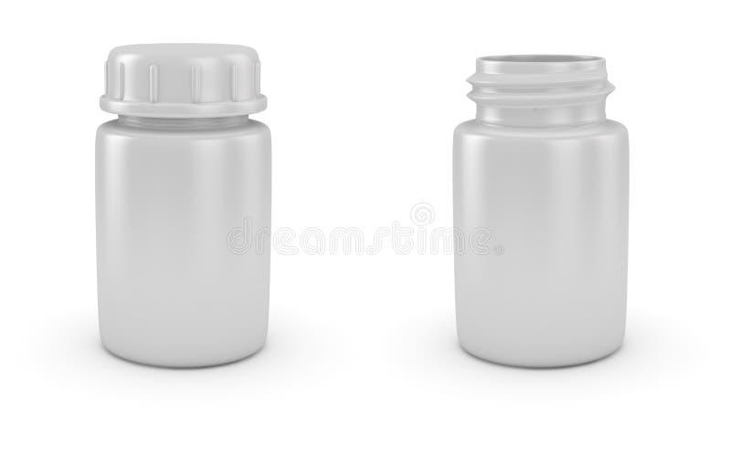 Geöffnete und geschlossene Pilleflaschen vektor abbildung