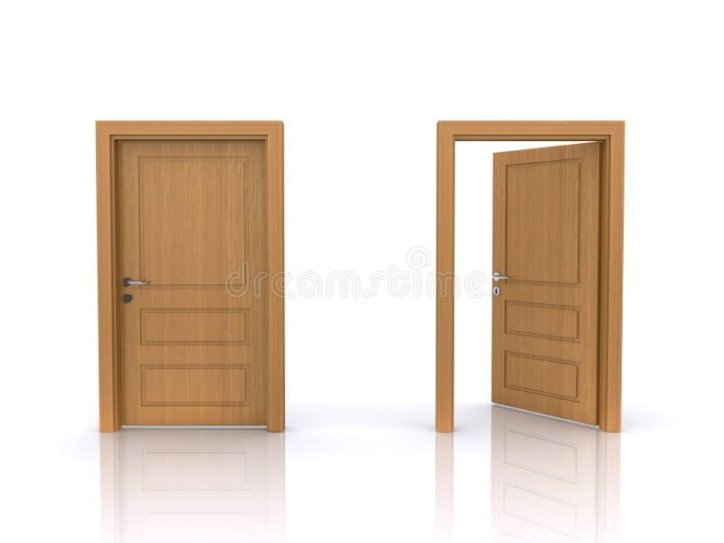 Geöffnete und geschlossene Türen vektor abbildung